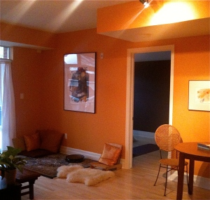 freshly painted orange living room white trim wood floors