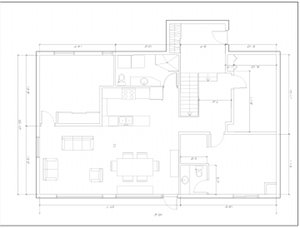 floor plan of house after, spaces have opened up, less walls