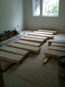 stair boards before construction laid out to be put together